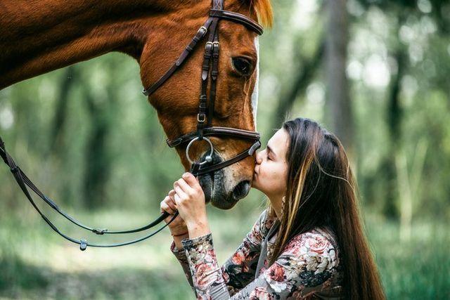Una ragazza abbraccia un cavallo