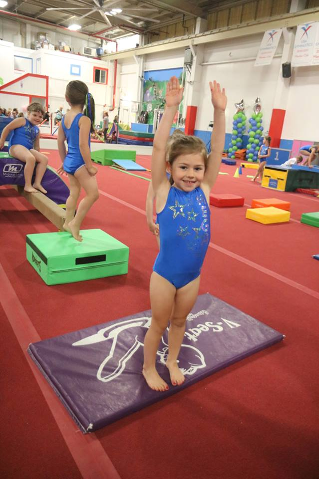 68eb4270 Kid Gymnast — Little Girl With Blue Leotard Dress in Novi, MI