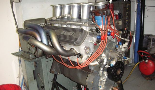 A block mounted V8 engine