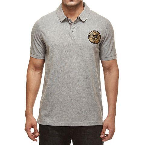 Royal Enfield Gun Polo Shirt With Vintage Logo Grey