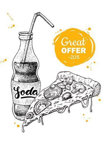 un disegno di una pizza e una bibita