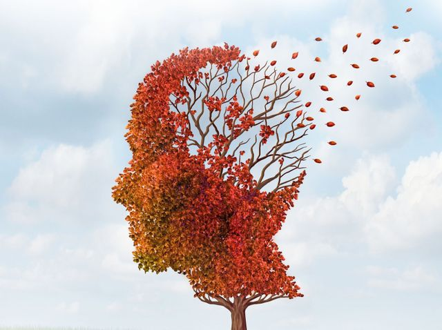 Alzheimer's represented by leaves blowing away