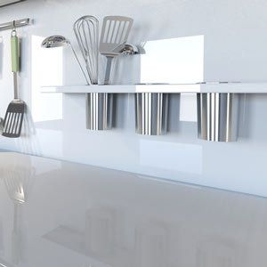 white kitchen bench top