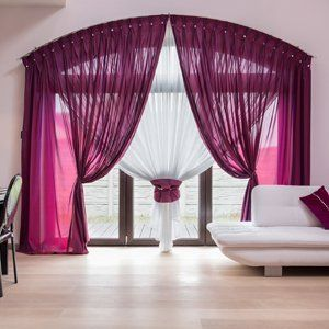 Pink and white roller blinds