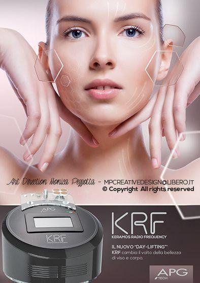 pubblicità' del viso di una donna e sotto un aparecchio elettronico Keramos Radio Frequency per il lifting del viso