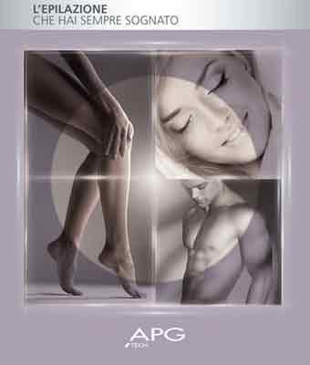 3 foto di due gambe di una donna, un viso e un uomo a torso nudo con scritto APG l'epilazione che hai sempre sognato