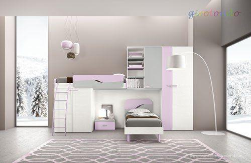 un letto a castello di color bianco, grigio e lilla
