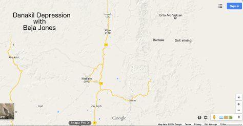 Danakil depression expedition map