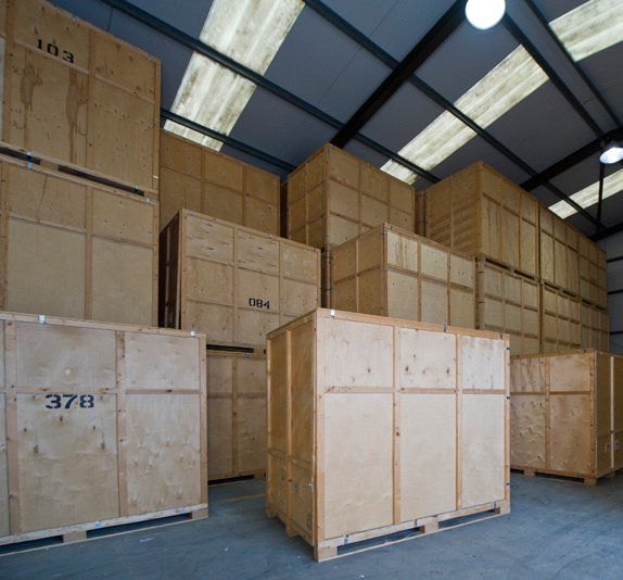 Storage boxes in warehouse