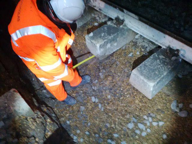 worker measuring track