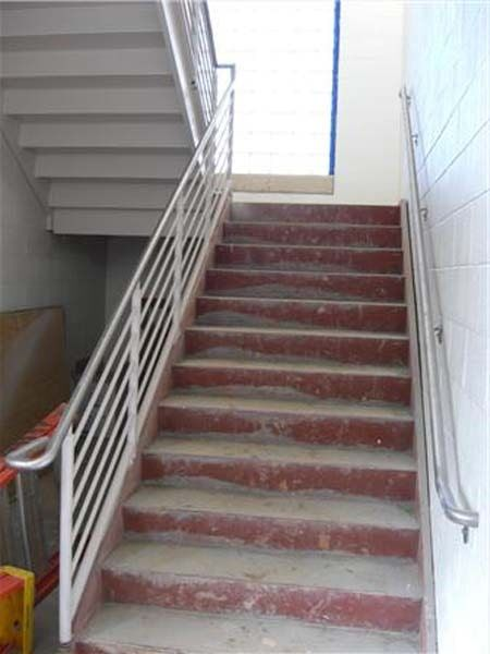 Commercial Stairs U2014 Staircase With Handrails In A Fire Exit In  Winston Salem, NC
