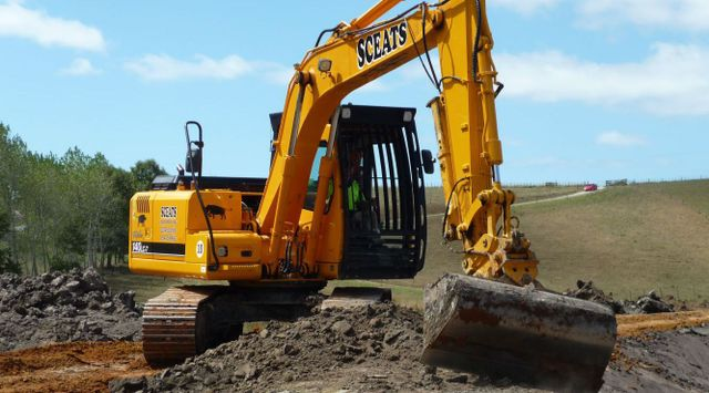 A large digger in Rodney from our excavation equipment range