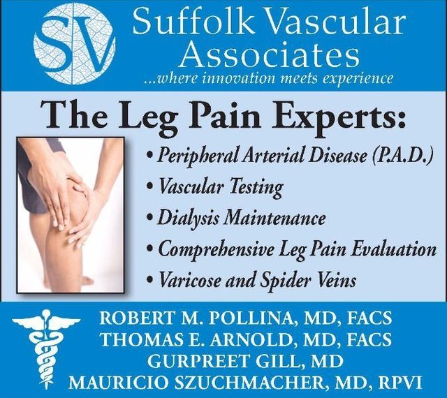 Suffolk Vascular Surgery, the Leg Pain Experts - Peripheral Arterial Disease treatment, vascular testing, dialysis maintenance, comprehensive leg pain evaluation, varicose and spider vein treatment