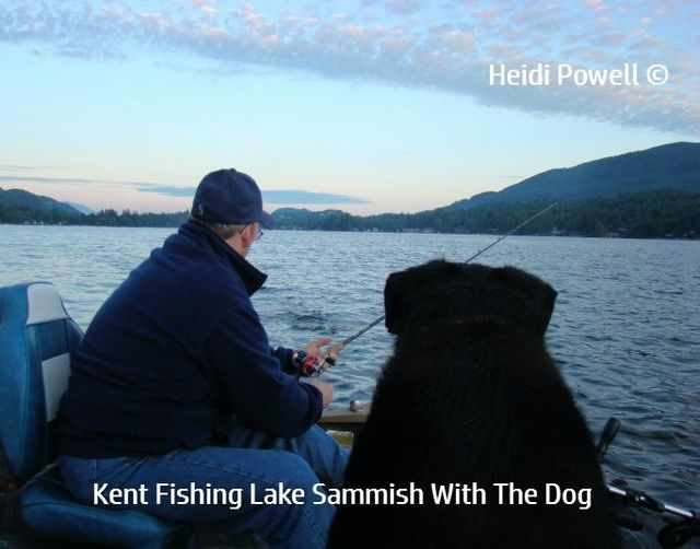 Heidi & Kent Powell fishing at Lake Sammish with the dog