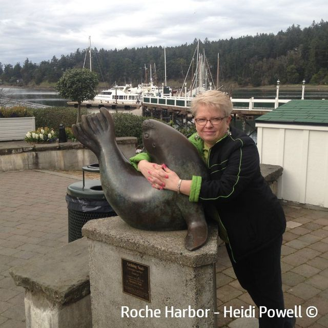Heidi Powell taking a break from designing a website, visiting  Roche Harbor WA