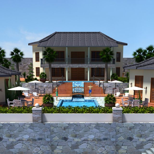A 3D architectural render of a home in Honolulu