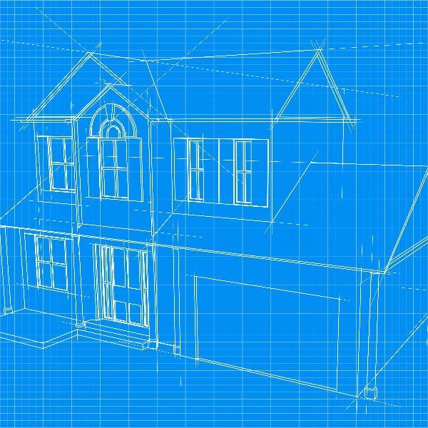 3D blueprint sketch of a house