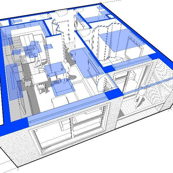 3D render of a residential floorplan