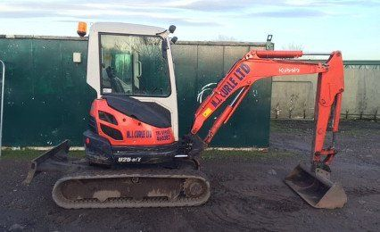 mini digger in parked position