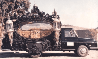 antica fotografia di carro funebre