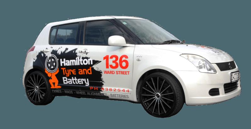 Hamilton Tyre and Battery car