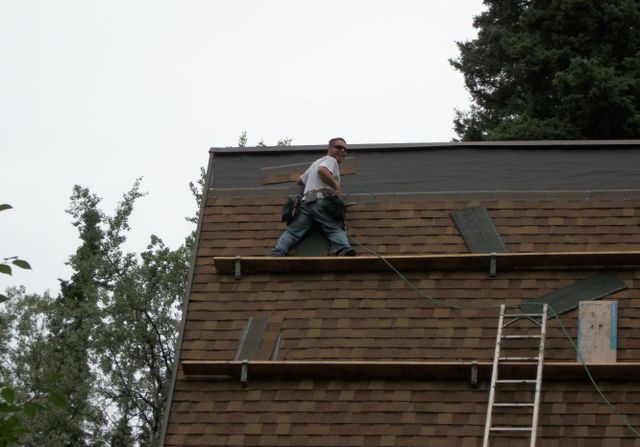 Roofing professional installing a quality roof in North Pole, Alaska