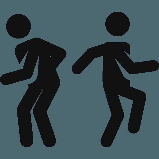 Icona nera di due uomini mentre ballano