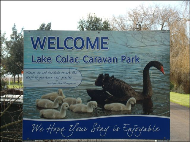 Welcome lake colac caravan park signage