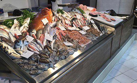 pesce fresco esposto su un bancone