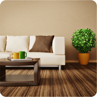 A living room with wood flooring