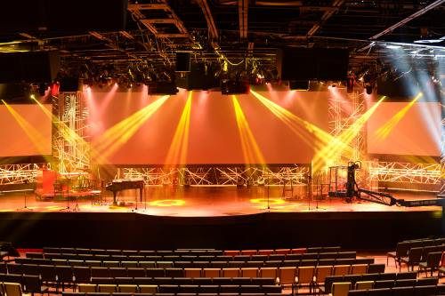 Stage with light beams