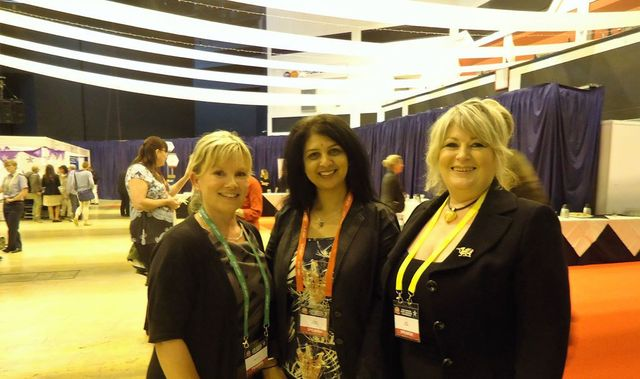 Sarbjit and two blond women at the International Association of Women Police - 53rd Annual Training Conference