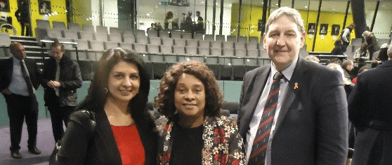 Sarbjit with Baroness Lawrence & Clive Driscoll