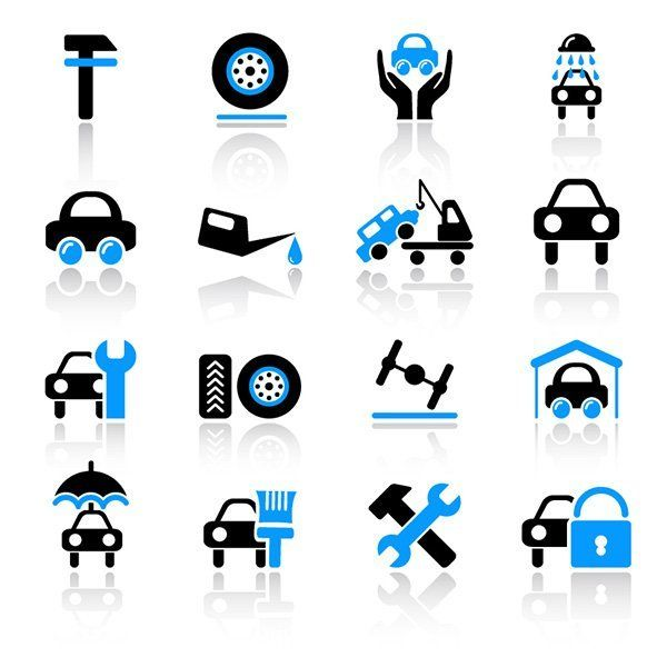 Cartello con le icone di tutti i servizi offerti dall'autofficina