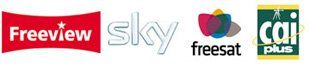 CAI Plus logo, Freeview logo, Sky logo and Freesat logo.