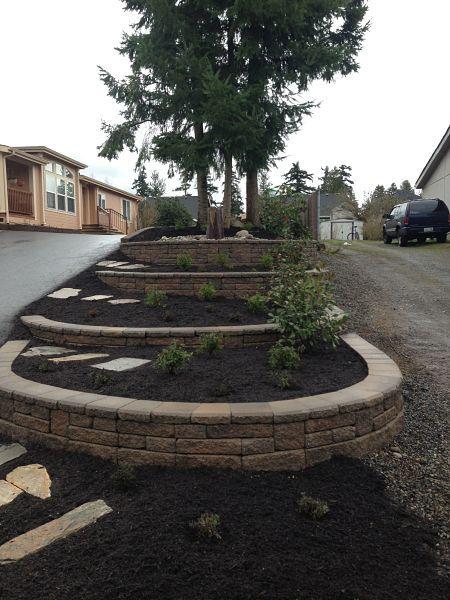 Garden, multi-level retaining wall.