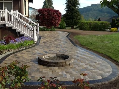 Abbotsford Pacific Slate finish pavers. Fire pit