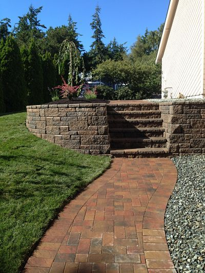 Walkway created with interlocking pavers.