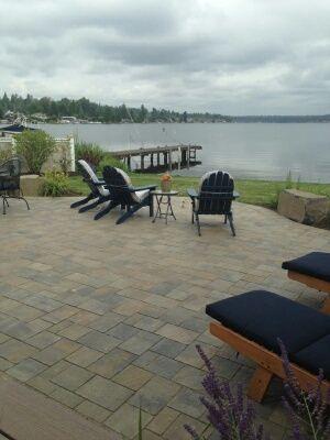 Interlocking paver deck, lakeside