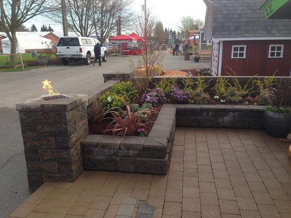 Freestanding Allan Block Wall.  Old Country Stone Pavers.