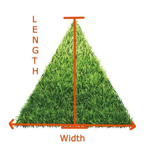 How to measure the area of a triangle to find out how many square feet of turf you need to purchase.