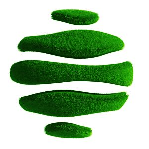 Irregular turf grass shapes.