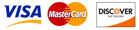 We accept Visa, Mastercard, Discover credit cards