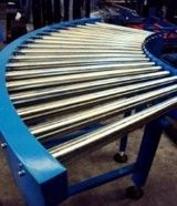 Curved roller conveyors