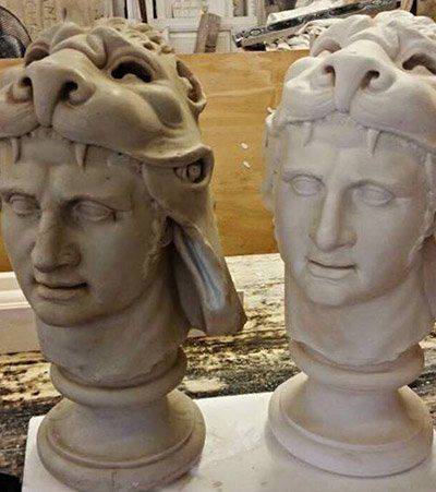 faces made of plaster