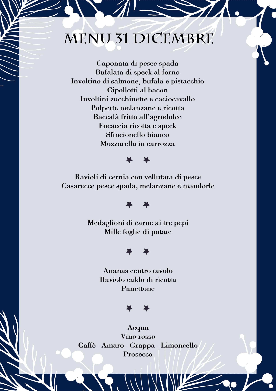 menu cena 31 dicembre