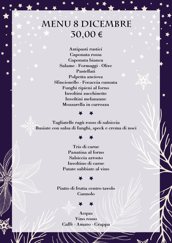 menu pranzo immacolata