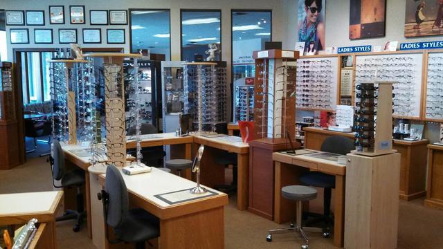 Designer eyewear in South Tulsa Optical's showroom