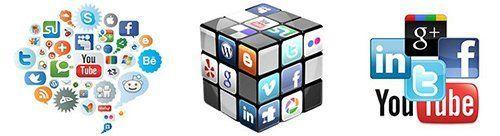 icone di social network disposte in maniera artistica