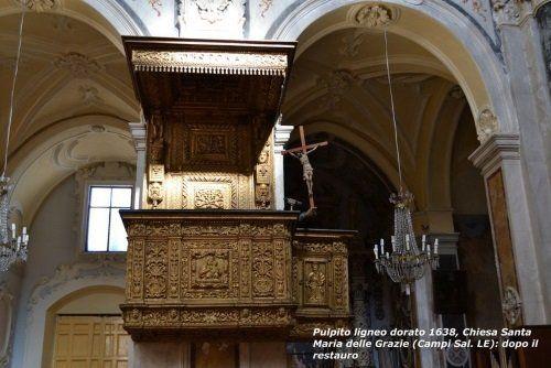Il pulpito ligneo dorato del 1638 nella chiesa di Santa Maria delle Grazie